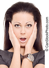 woman panic scare emotion isolated