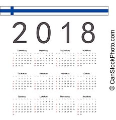 Square black Finnish 2018 year vector calendar. Week starts...