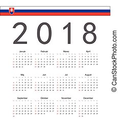 Square Slovak 2018 year vector calendar. Week starts from...