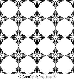 Seamless floral geometric black and white ornament
