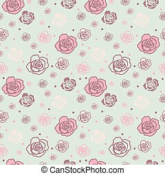 Gentle seamless pattern with big and small roses of different colors. Light blue-grey, pink and beige on light blue background.