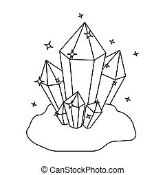 Crystals icon in outline style isolated on white background....