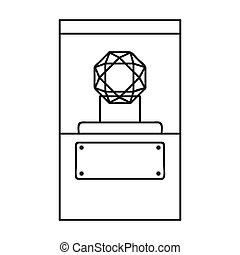 Diamond on a pedestal icon in outline style isolated on...