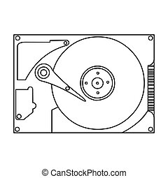 Hard disk icon in outline style isolated on white...