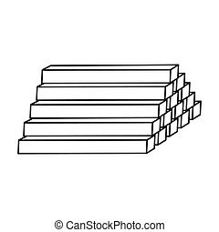 Stack of lumbers icon in style isolated on white background....