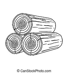 Stack of logs icon in style isolated on white background....