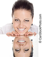 woman reflection mirror smile isolated