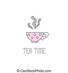 Hand drawn illustration of polka dot tea cup with . - Hand...