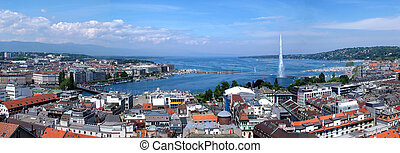 Panoramic view of Geneva - The city of Geneva, the Leman...