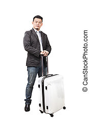 portrait asian younger business man and traveling luggage...