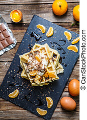 Viennese waffles with mandarin oranges - Breakfast with...