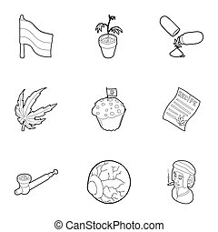 Hashish icons set, outline style - Hashish icons set....
