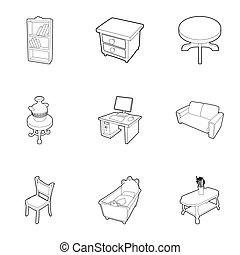 Home furnishings icons set, outline style - Home furnishings...