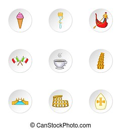 Holiday in Venice icons set, cartoon style - Holiday in...