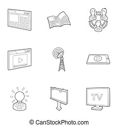 Broadcast icons set, outline style