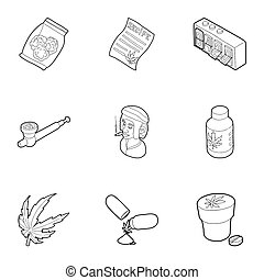 Marijuana icons set, outline style - Marijuana icons set....
