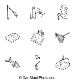 Fishing on river icons set, outline style - Fishing on river...