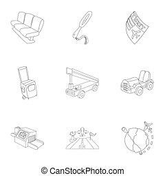 Airport icons set, outline style - Airport icons set....