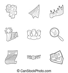Startup icons set, outline style - Startup icons set....