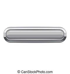Gray rectangular button icon, cartoon style - Gray...
