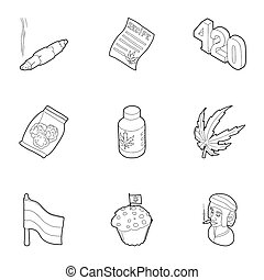 Drug icons set, outline style - Drug icons set. Outline...