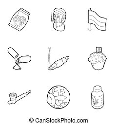 Hemp icons set, outline style - Hemp icons set. Outline...
