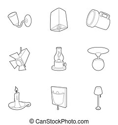 Light icons set, outline style - Light icons set. Outline...