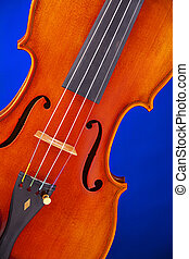 Violin viola body isolated on Blue