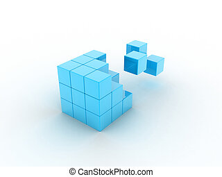 Cube illustration from which its parts fly away