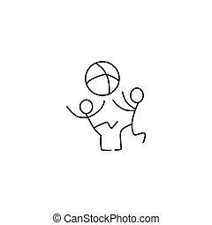 Children stick figures icon vector - Children playing stick...