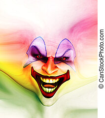 Evil Skin Face Clown - Very evil looking clown face on...