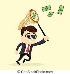 Vector businessman or manager holds a net. Man in business suit. Business man chasing money and smiling.