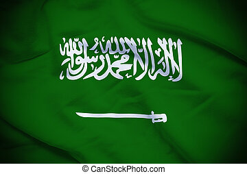 Saudi Arabia Flag - Wavy and rippled national flag of Saudi...