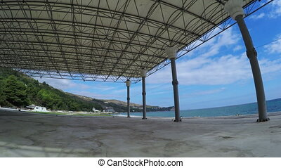 Carport on open ground in park - RUSSIA, GURZUF, OCTOBER:In...