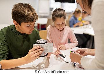 predios, escola, Robótica, Robôs, crianças, Feliz