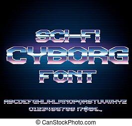 Sci-Fi retro font - Futuristic Cyborg Sci-Fi Metal Techno...