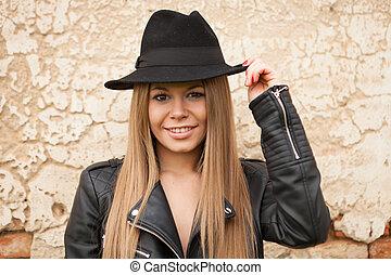pretas, loiro, mulher, chapéu, jovem