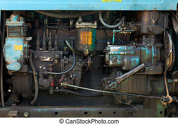 Old tractor engine - engine of the old model of agricultural...