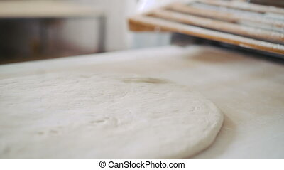 Close up preparation of the puff dough in bakery
