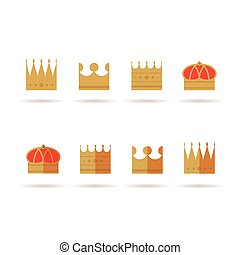 Set of gold crown flat icons