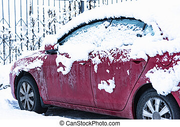 tunes snow cars - car is parked tunes with a thick layer of...