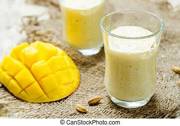 Mango Lassi. Indian sweet yogurt. toning. selective focus