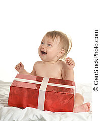 Cute baby  with gift