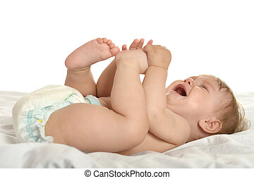 Baby girl lying in pampers - Adorable baby girl lying in...