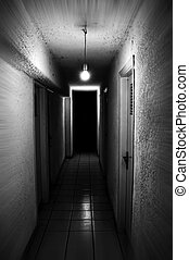 basement light - Light shining in dark basement corridor...