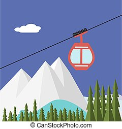 Ski Lift Gondola Snow Mountains, Forest - Vector...