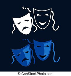Tragedy and Comedy - Vector Theatrical masks - isolated...
