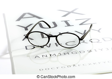 Glasses on the eye chart table - Black oval glasses laying...