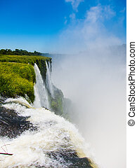 Close view from one of the water falls in Cataratas del...
