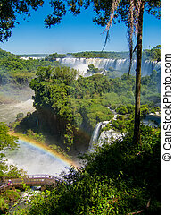 View of the water falls in Cataratas del Iguazu park - Vew...
